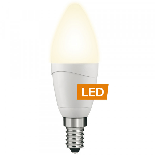 LEDON LED-Lampe Kerze B35 E14 5W dimmbar gross an